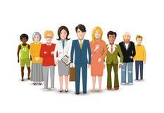 Internationell grupp människor, plan illustration på vit Royaltyfri Foto