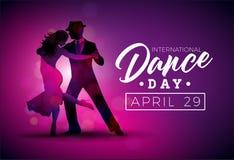 Internationell illustration för dansdagvektor med tangodanspar på purpurfärgad bakgrund Designmall för baner stock illustrationer