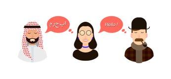 Internationell illustration för kommunikationsöversättningsbegrepp turister eller affärsmän eller politiker från att tala för ara stock illustrationer