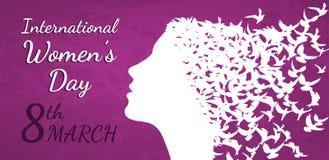 Internationell illustration för vektor för dag för kvinna` s med kvinnaprofil vektor illustrationer