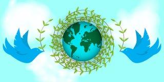 Internationell jorddag Duvor bygger ett rede av ris Dag av fred, planeter, miljö royaltyfri illustrationer