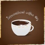 Internationell kaffedagvektor stock illustrationer