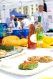 Internationell konkurrens för utomhus- matlagning Royaltyfria Foton
