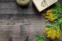 Internationell kvinnadag för begrepp med blommaträbakgrund t Fotografering för Bildbyråer