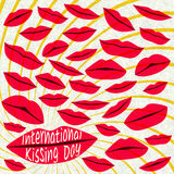 Internationell kyssande dagbakgrund röda kanter Arkivbild