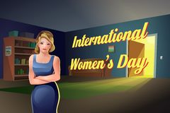 Internationell lägenhet för flicka för dag för kvinna` s Royaltyfri Fotografi