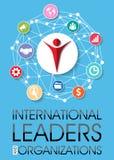 Internationell ledare och organisationsbakgrund royaltyfri illustrationer