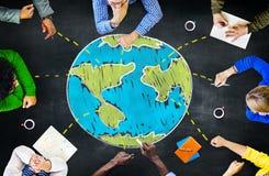 Internationell mötande enhet för global ekologi som lär Concep Royaltyfri Bild