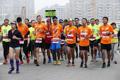 Internationell maraton 2015 i Shanghai Royaltyfri Fotografi