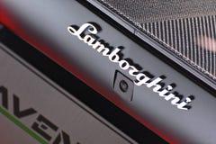 internationell motorisk show 2018 för 88th Genève - Lamborghini emblem royaltyfria bilder