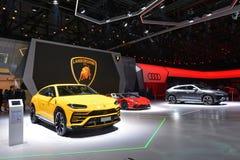 internationell motorisk show 2018 för 88th Genève - Lamborghini ställning Arkivbild