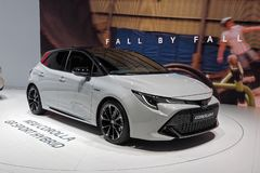 internationell motorshow f?r 89th Gen?ve - Toytota Corolla GR Sport Hybrid fotografering för bildbyråer