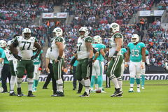 Internationell serielek för New York Jets kontra Miami Dolphins på Wembley Stadium Arkivbilder