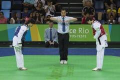 Internationell Taekwondo turnering i Rio de Janeiro - JPN vs CHN royaltyfri foto