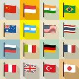 Internationell temabakgrund med flaggor royaltyfri illustrationer