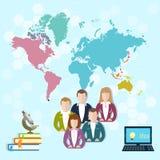Internationell utbildning som lär direktanslutet, studenter vektor illustrationer