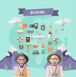 Internationell utforskarevektor med jord och illustrationer Royaltyfria Foton