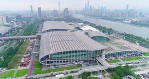 Internationell utställningkantonmässa flyg- sikt Ganska sikt för för Kina import och export uppifrån, det allmänna planet lager videofilmer
