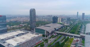 Internationell utställningkantonmässa flyg- sikt Ganska sikt för för Kina import och export uppifrån, det allmänna planet stock video