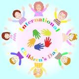 Internationella barns dagillustration med åtta barn Stock Illustrationer