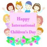 Internationella barns dagillustration med åtta barn och blomman Stock Illustrationer