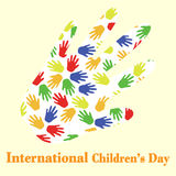 Internationella barns dagillustration med färgrika händer Vektor Illustrationer
