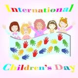 Internationella barns dagillustration med fem flickor Vektor Illustrationer