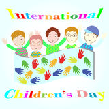 Internationella barns dagillustration med fem pojkar Royaltyfri Illustrationer