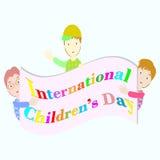 Internationella barns dagillustration med tre pojkar Arkivfoto