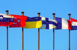 Internationella kulöra flaggor Royaltyfria Bilder