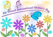 Internationella kvinnors dag i härliga pastellfärgade färger med färgrika blommor och fjärilar 8th hälsningaffischtavla för mars Arkivfoto