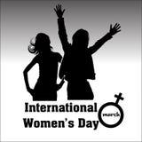 Internationella kvinnors dag med flickakonturer vektor illustrationer