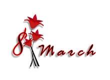 Internationella kvinnors dag på mars 8th. Datum med bokstäver med röda blommor. Royaltyfri Bild