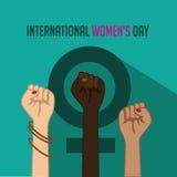 Internationella kvinnors dagaffisch med lyftta nävar royaltyfri illustrationer