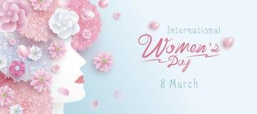 8 internationella kvinnors för mars design för begrepp för dag av kvinnan och blommor royaltyfri illustrationer