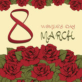 8 internationella kvinnors för marsch dag Hälsningkort, inbjudan, baner Bukett av röda rosor för blommor och gräsplansidor Royaltyfri Foto