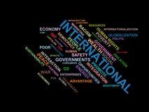 INTERNATIONELLA - ordmolnwordcloud - uttryck från den globalisering-, ekonomi- och politikmiljön royaltyfri illustrationer