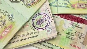 Internationella pass med visum arkivfilmer