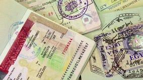 Internationella pass med visum (USA, Egypten, Thailand och Shengen visum) arkivfilmer