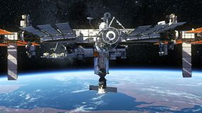 Internationella rymdstationen som kretsar kring jord vektor illustrationer