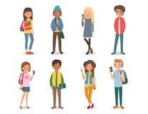 Internationella studenter med böcker, telefoner och ryggsäckar royaltyfri illustrationer