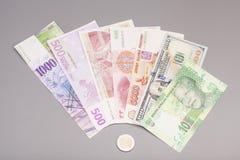 Internationella valutor och euromynt Arkivbild