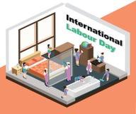 Internationellt arbeta dagen var hembiträdena gör ren det isometriska konstverkbegreppet för huset vektor illustrationer