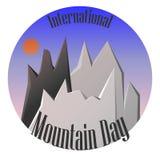 Internationellt bergdaglandskap med bergvektorn stock illustrationer