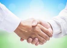 Internationellt hjälpsamt dagbegrepp: Affärspersonhandskakning tillsammans fridfullt royaltyfri foto
