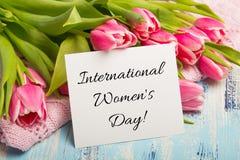 Internationellt kort för dag för kvinna` s arkivbild
