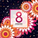 Internationellt kort för hälsning för dag för kvinna` s royaltyfri illustrationer