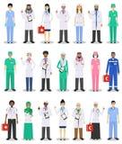 Internationellt medicinskt begrepp Detaljerad illustration av doktorn och sjuksköterskor i plan stil som isoleras på vit bakgrund royaltyfri illustrationer