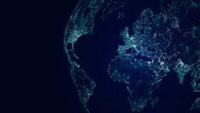 Internationellt nätverk för jordklot, science fictionvärldskartabakgrund royaltyfri illustrationer