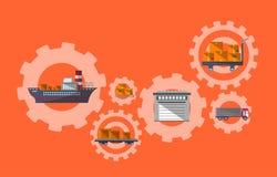 Internationellt porto och logistisk ledning stock illustrationer